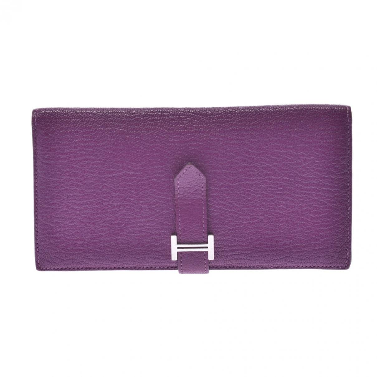 Hermès Béarn Purple Leather wallet for Women \N