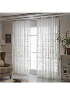 Elegant and Noble Fancy White Embroidery Custom Sheer Curtains for Living Room Bedroom