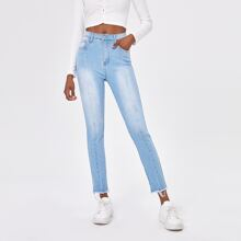 Raw Hem Zipper Fly Skinny Jeans