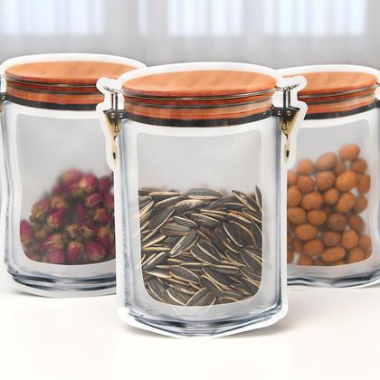 Mason Jar Shape Transparent Zipper Bag Food Storage Seal Bag, 10Pcs - LIVINGbasics™ - S/M/L