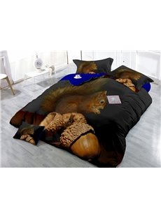 Squirrel and Acorn Wear-resistant Breathable High Quality 60s Cotton 4-Piece 3D Bedding Sets