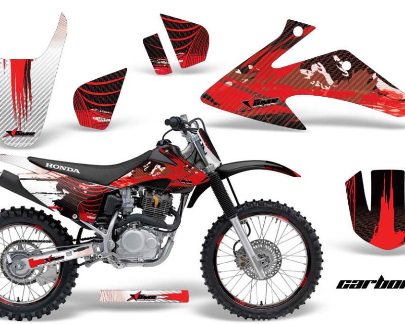AMR Racing Graphics MX-NP-HON-CRF150-CRF230F-08-14-CX R Kit Decal Wrap + # Plates For Honda CRF150 | CRF230F 2008-2014áCARBONX RED