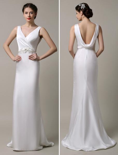 Milanoo Ivory Satin Deep V-neck and Cowlback With Embellished Sash Wedding Dress