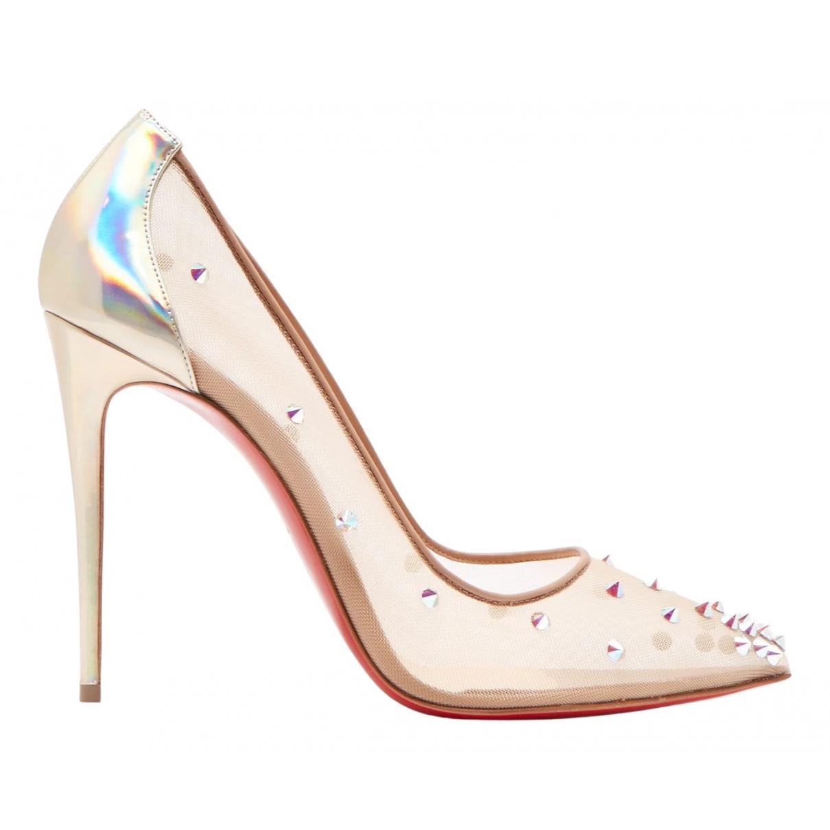 Christian Louboutin Degrastrass Beige Cloth Heels for Women 42 EU