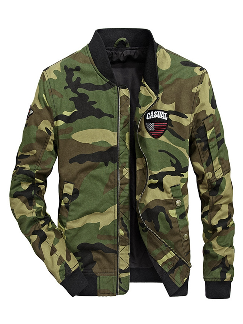 Ericdress Camouflage Cotton Zipper Stand Collar Casual Slim Men's Jacket
