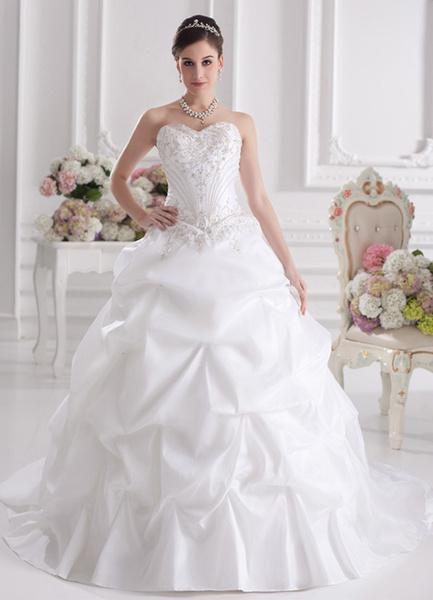 Milanoo White Ball Gown Strapless Embroidered Taffeta Bridal Wedding Dress