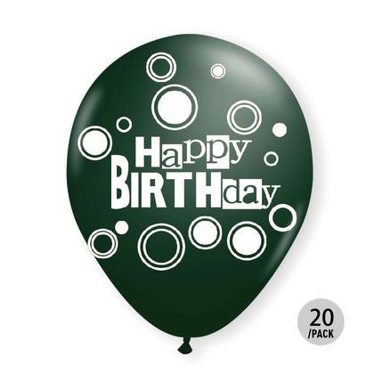 Birthday Balloons Hunter Green Helium Quality Bold Dots 12