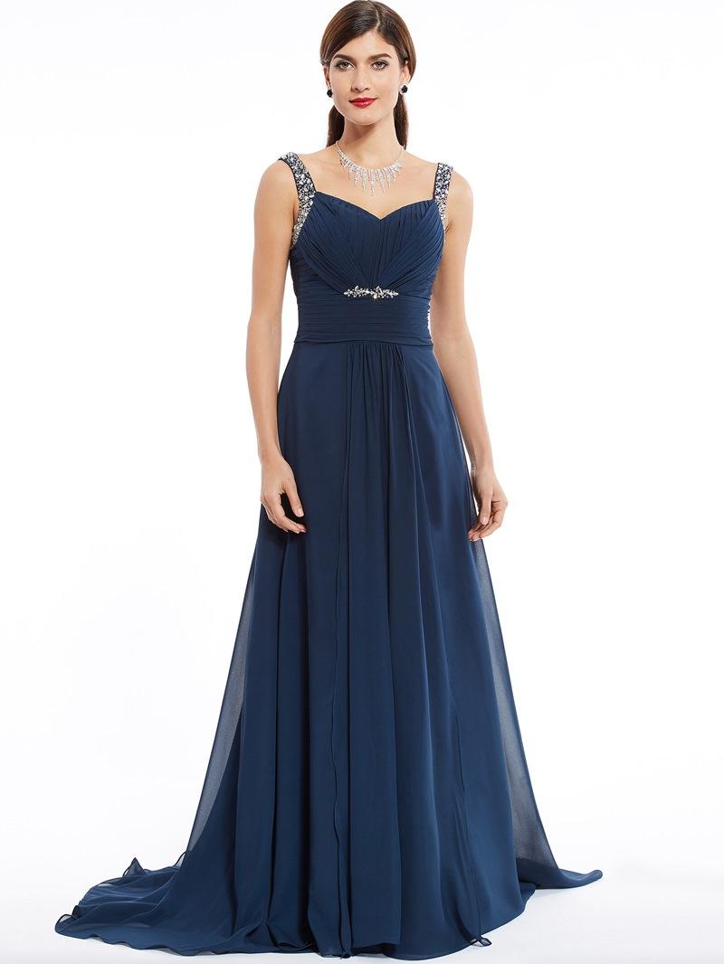Ericdress Straps Zipper-Up Beaded A Line Evening Dress