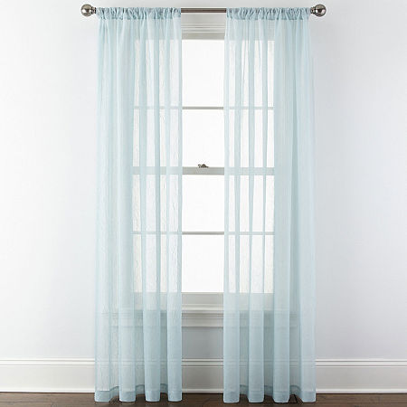 Home Expressions Sheer Rod-Pocket Single Curtain Panel, One Size , Blue