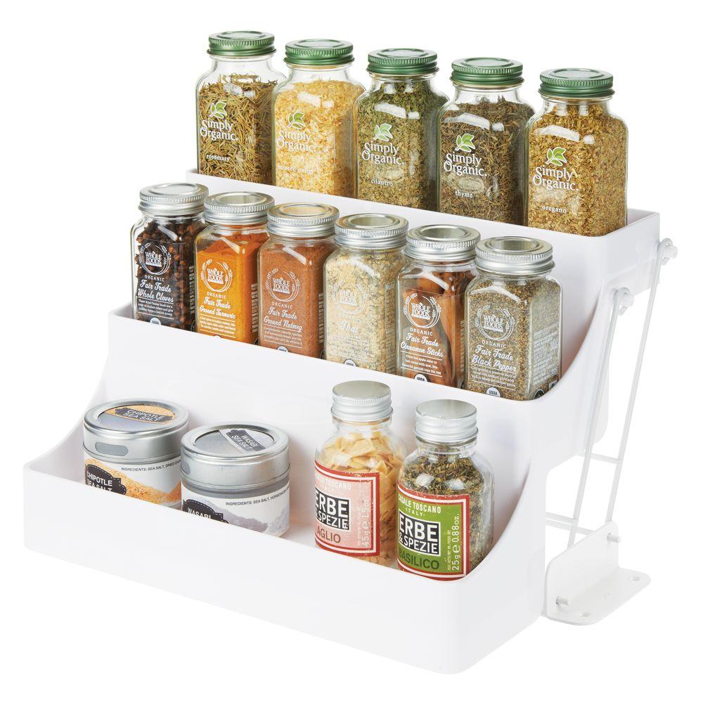 Pull Down Kitchen Cabinet Spice Rack Organizer in White, 9