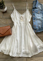 Hollow Out Ruffled Spaghetti Strap Mini Dress without Necklace - White