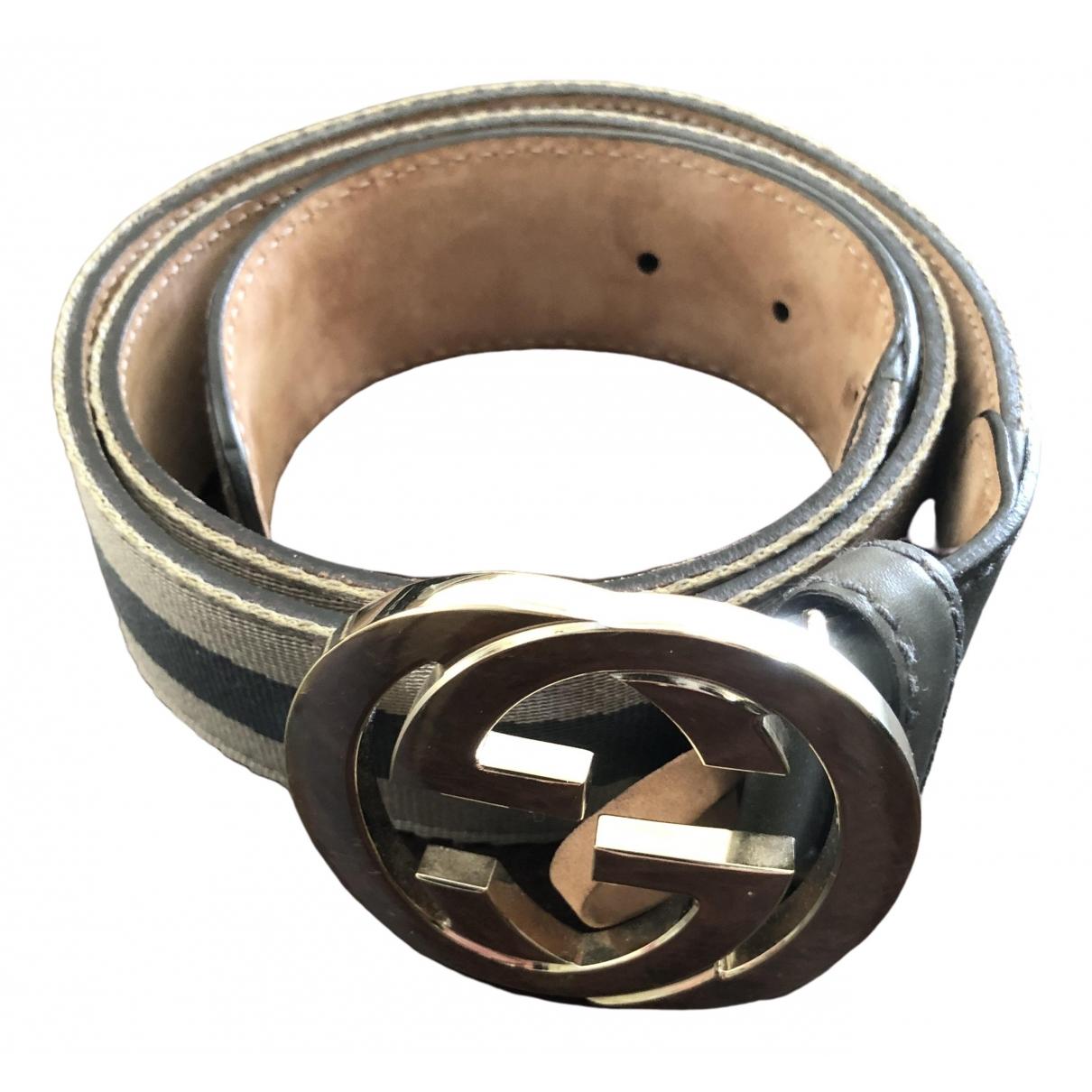 Gucci Interlocking Buckle Grey Cloth belt for Women 85 cm