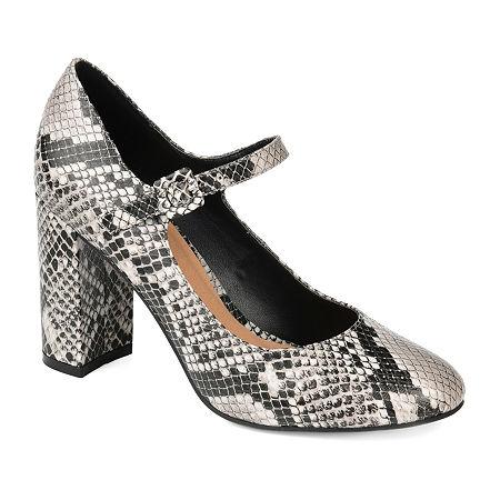 Journee Collection Womens Shayla Buckle Round Toe Block Heel Pumps, 8 Medium, Multiple Colors