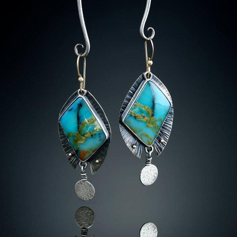 Vintage Geometric Diamond Turquoise Drop Earrings Metal Water Drop Irregular Marble Earrings