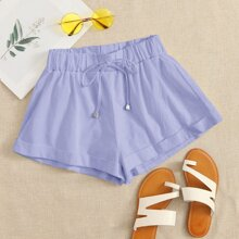 Roll Up Hem Tie Waist Shorts