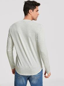 Men Heather Grey Solid Tee