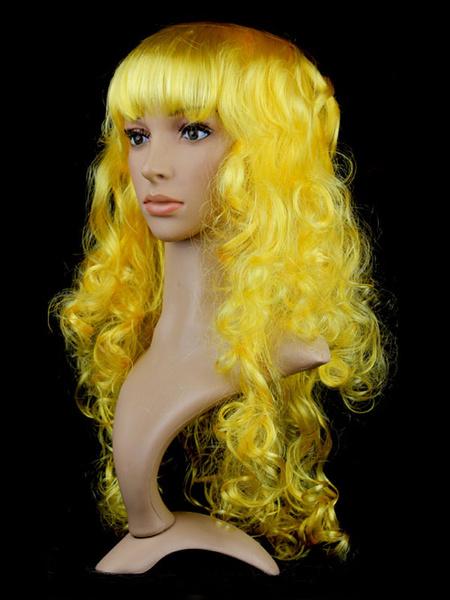 Milanoo Halloween Hair Wigs White Long Curly Carnival Hair Wigs Women Synthetic Wigs