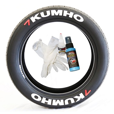 Tire Stickers KUMHO-1718-1-4-O Permanent Raised Rubber Lettering 'Kumho' Logo - 4 of each -  17