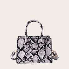 Snakeskin Satchel Bag With Double Band