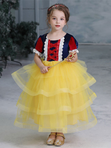 Milanoo Child Halloween Cosplay Costumes Snow White Yellow Dress Kids Princess Outfits