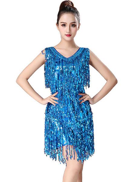 Milanoo Latin Dance Dresses Fringe Sequin Dancer Dancing Wears For Women Halloween