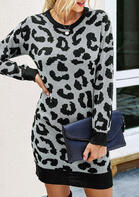 Leopard Long Sleeve Knitted Mini Dress