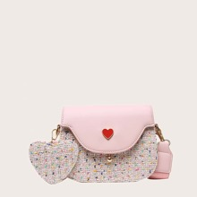 Heart Graphic Tweed Saddle Bag With Charm