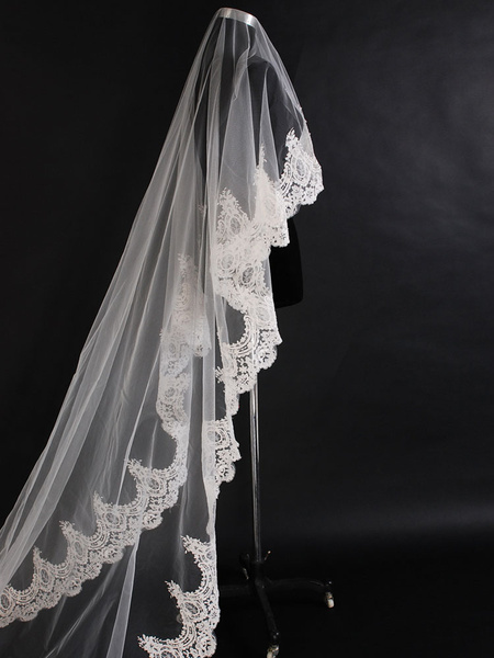 Milanoo Wedding Veil Cathedral Lace Applique Ecru White Long Bridal Veil