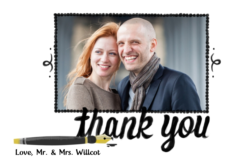 Thank You Cards Flat Matte Photo Paper Cards with Envelopes, 5x7, Card & Stationery -Pen Photo Thank You