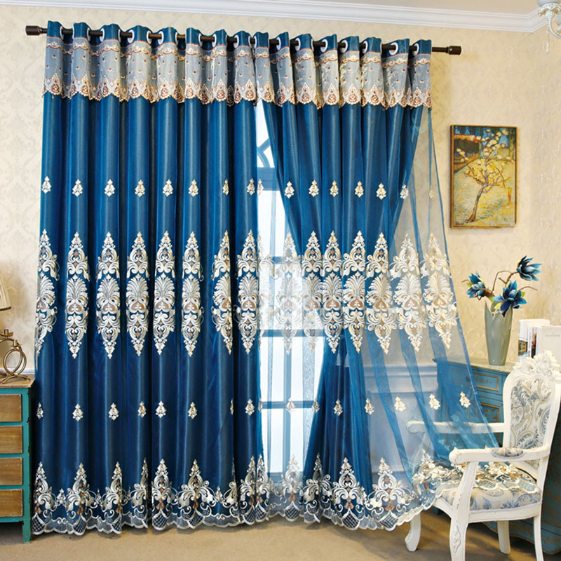 European Embroidery Floral Blackout Decorative Curtain Sets Custom 2 Panels Drapes No Pilling No Fading No off-lining