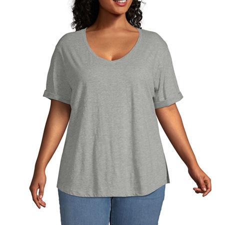 a.n.a-Plus Womens V Neck Short Sleeve T-Shirt, 1x , Gray