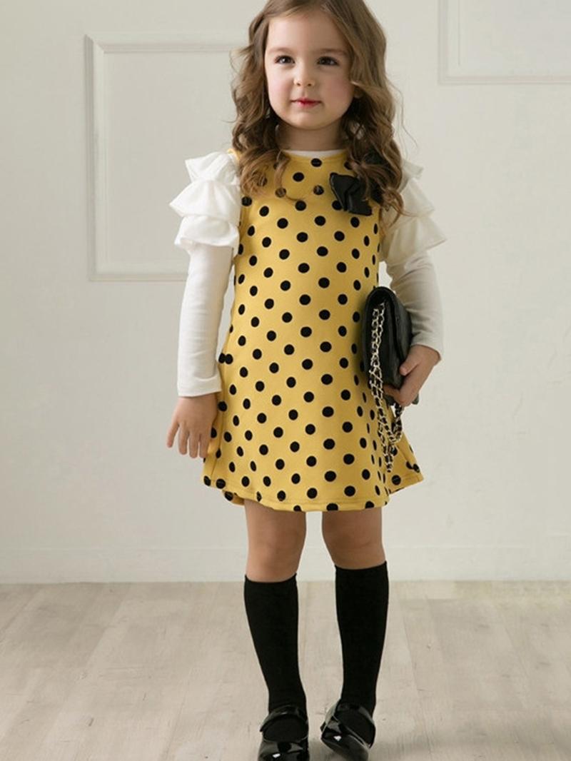 Ericress Lovely Polka Dots Falbala Girl's A-Line Dress
