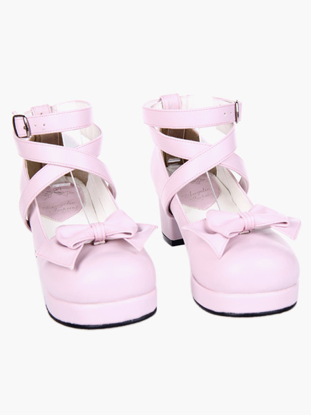 Milanoo Sweet Square Heels Shoes Ankle Straps Bow Buckle