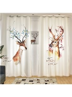 3D Watercolor Elk Painted Concise Style Custom Semi-blackout Curtains