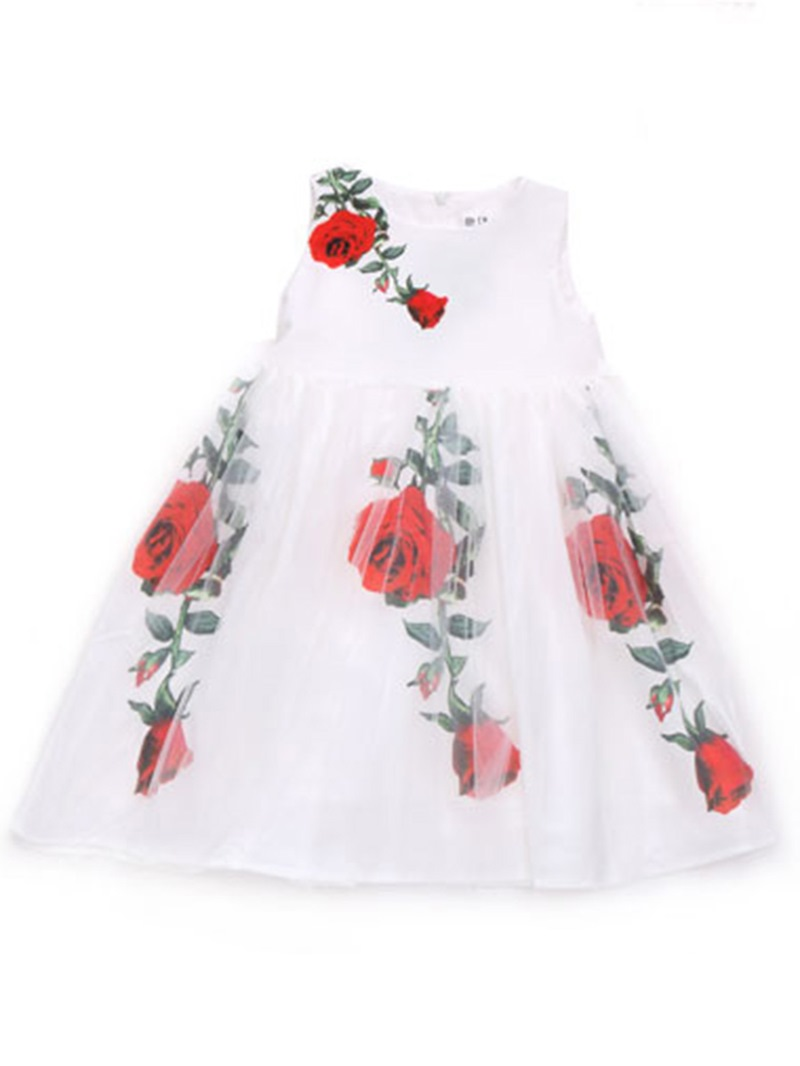 Ericdress Floral Print Bowknot Girl's Sleeveless Summer Dress