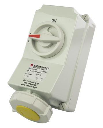 MENNEKES Switchable IP67 Industrial Interlock Socket 2P+E, 32A, 110 V, Yellow