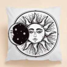 1pc Sun & Moon Print Cushion Cover Without Filler