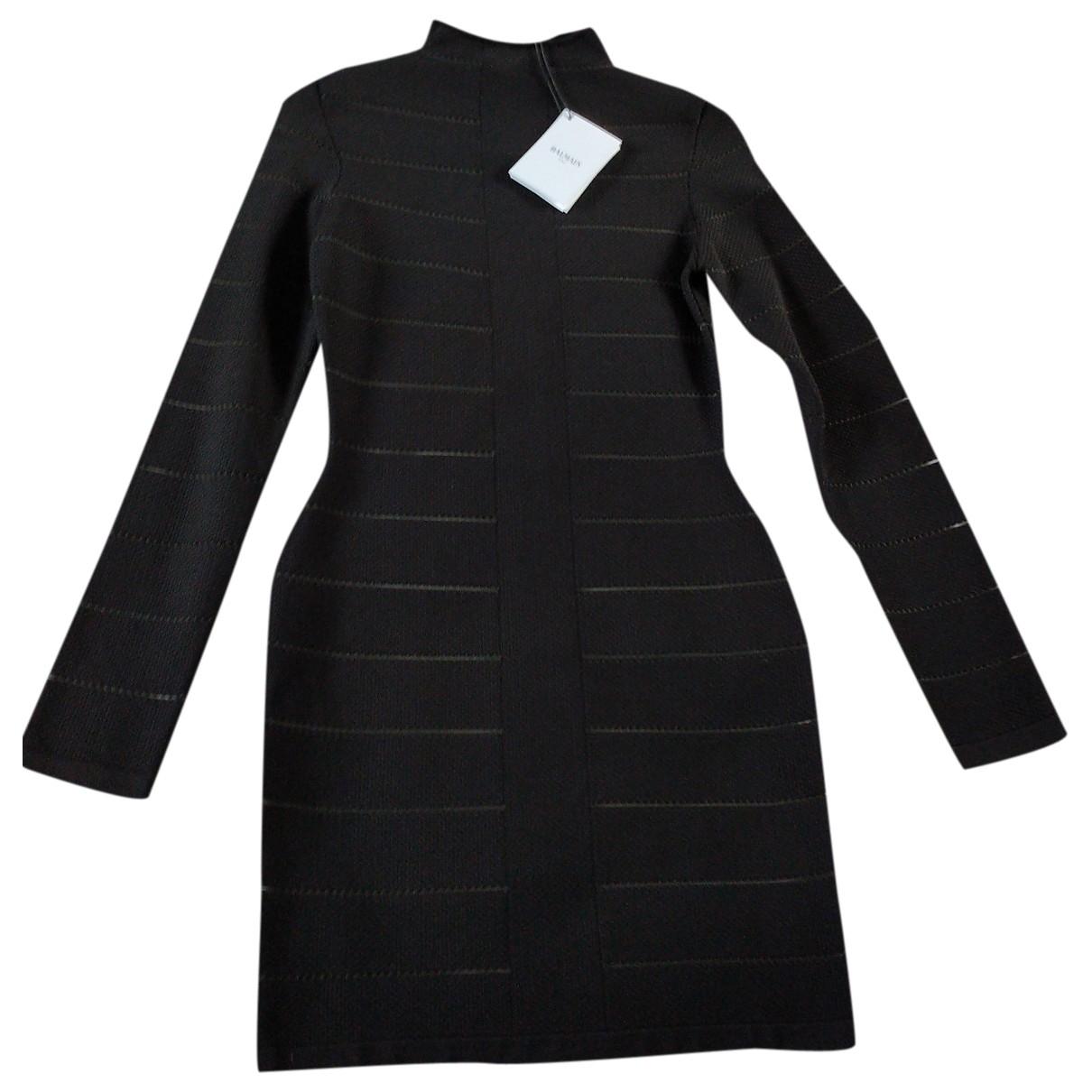 Balmain \N Black Cotton - elasthane dress for Women 38 FR
