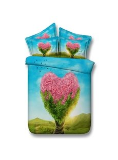 Unique Pink Heart-shaped Tree Print 5-Piece Comforter Sets