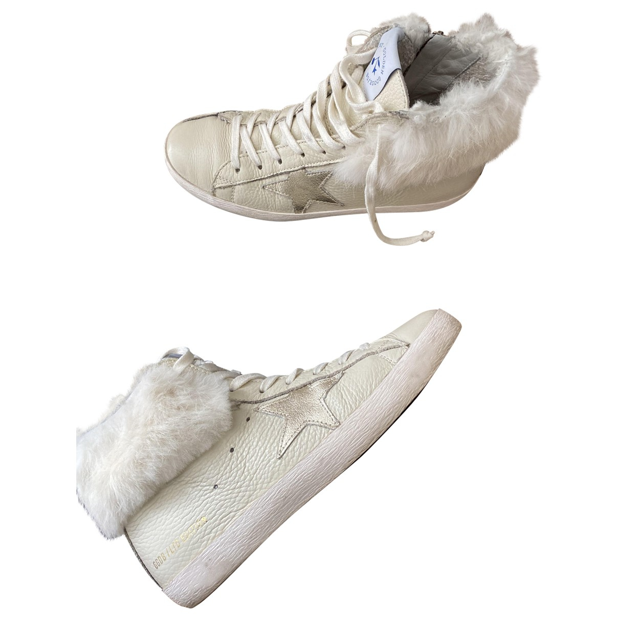 Golden Goose Francy Ecru Leather Trainers for Women 37 IT