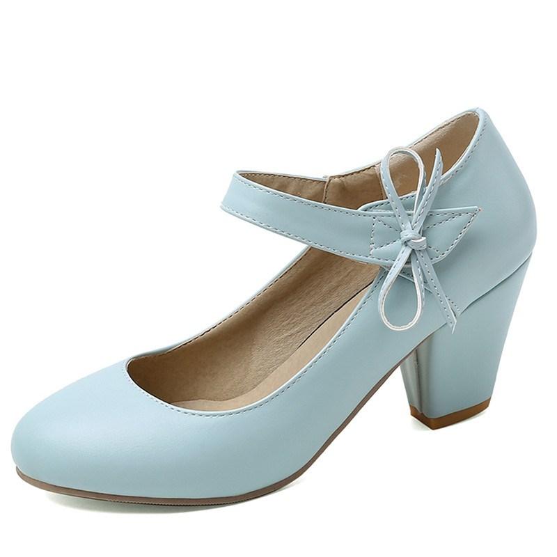 Ericdress PU Buckle Bow Plain Chunky Sandals