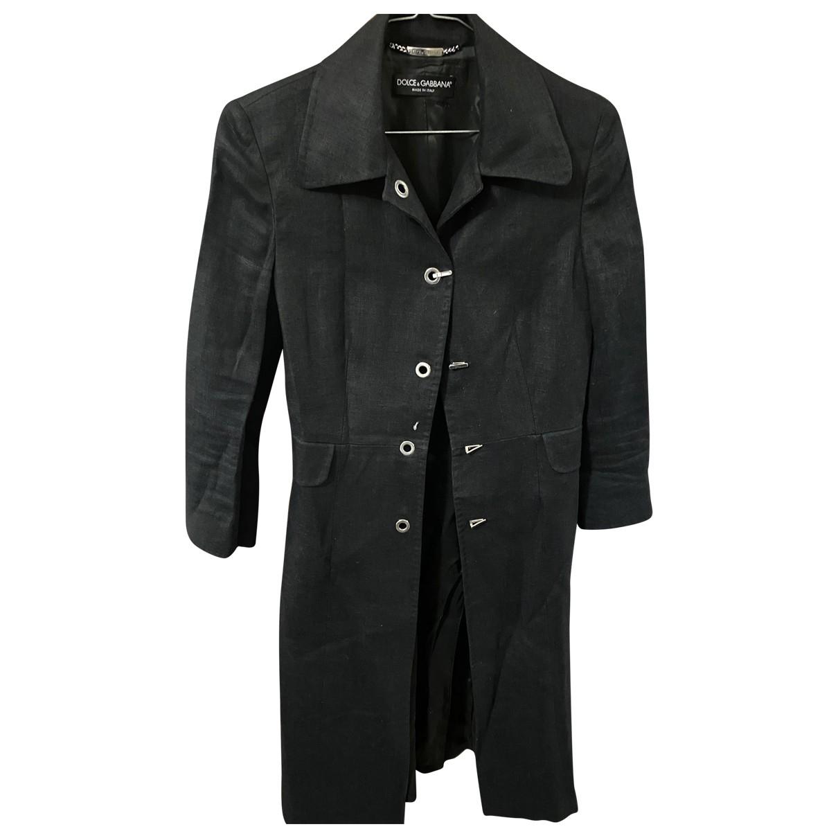 Dolce & Gabbana \N Black Linen coat for Women 40 IT