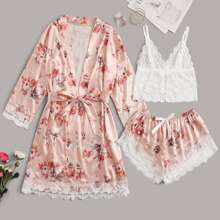 3pack Floral Print Contrast Lace Lingerie Set & Satin Belted Robe