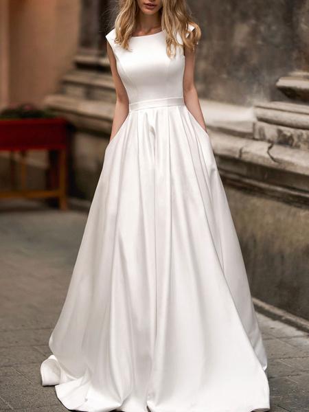 Milanoo Vestidos de novia sencillos de linea A Vestidos de novia Blanco Boda sin mangas cintura natural con faja Tela Saten con escote redondo Cremall
