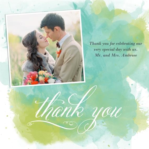 Wedding Thank You 5x5 Flat Card Set, 85lb, Card & Stationery -Gracious Watercolors