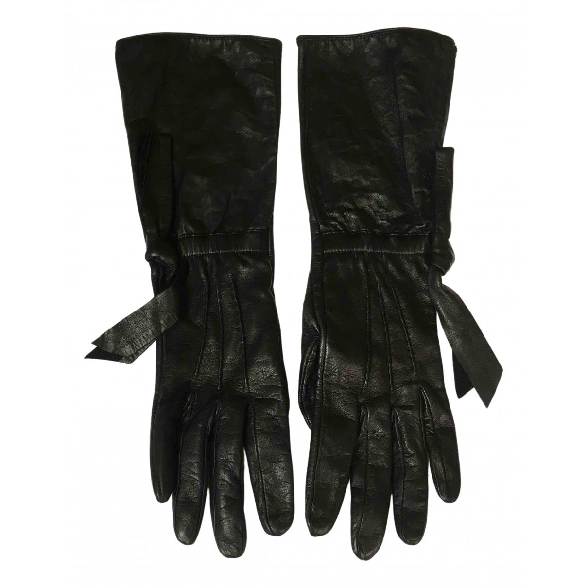 Prada \N Black Leather Gloves for Women 8 Inches