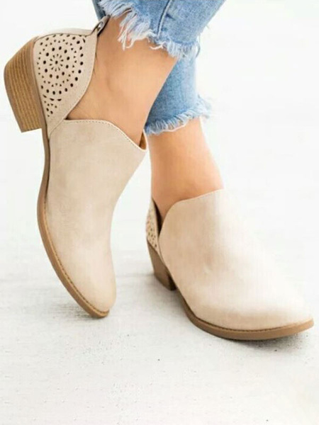 Milanoo Brown Summer Boots Women Pointed Toe Slip On Short Boots