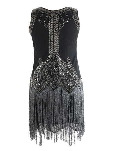 Milanoo 1920s Fashion Style Outfits Great Gatsby Flapper Dress Black Sequined Sleevesless Round Neck Women's Short 20s Party Dress For Women