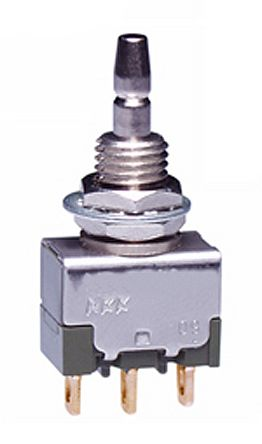 NKK Switches Single Pole Double Throw (SPDT) Momentary Push Button Switch, 6.5 (Dia.)mm, Bushing, 28V ac/dc