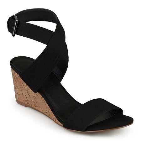 Journee Collection Womens Kaylee Pumps Wedge Heel, 9 Medium, Black